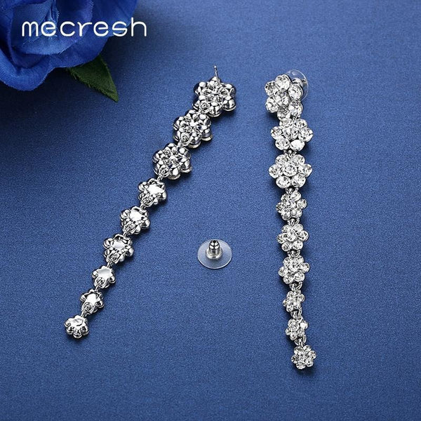 Mecresh Silver Color Long Earrings For Women 2017 Flower Crystal Bridal Drop Brincos Party Wedding Engagement Jewelry EH584