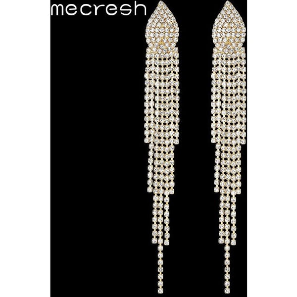 Mecresh Silver/Gold Color Long Tassel Earrings for Women 2017 Crystal Bridal Earrings Wedding Engagement Prom Jewelry EH360