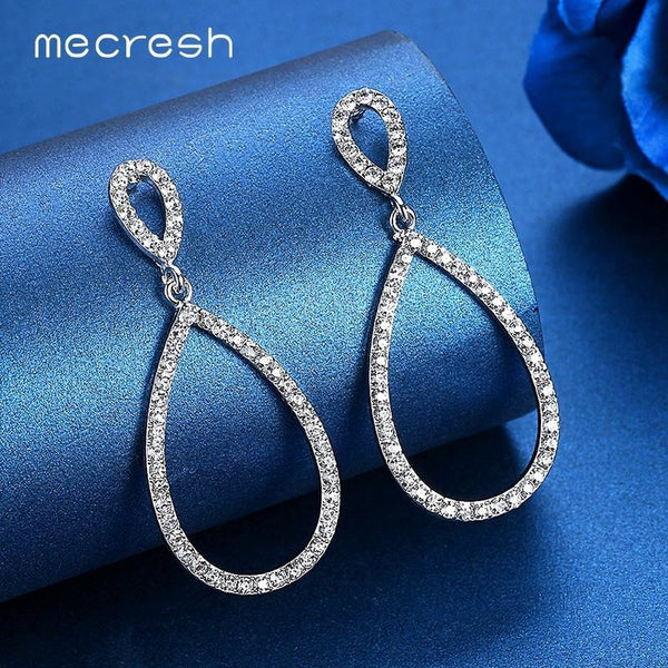 Mecresh Simple Bridal Long Earrings for Women Silver Color Crystal Wedding Bridesmaid Drop Earrings Fashion Party Jewelry EH517