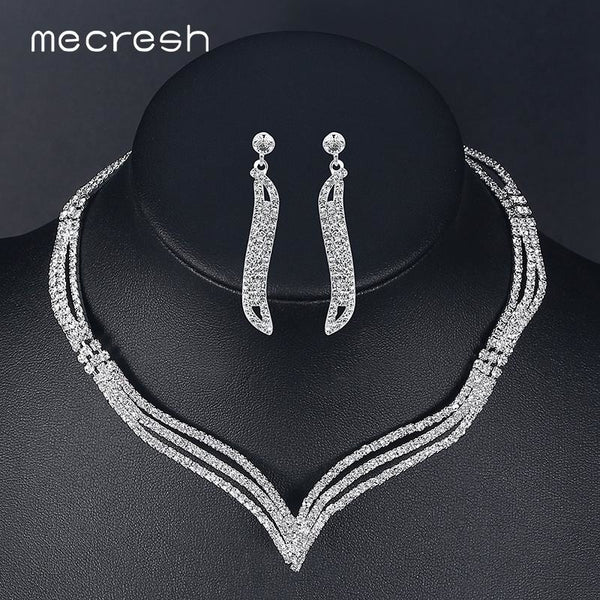 3634aea32c Mecresh Simple Crystal Bridal Jewelry Sets Silver Color Rhinestone Earrings  Necklace Sets for Women Wedding Accessories TL296