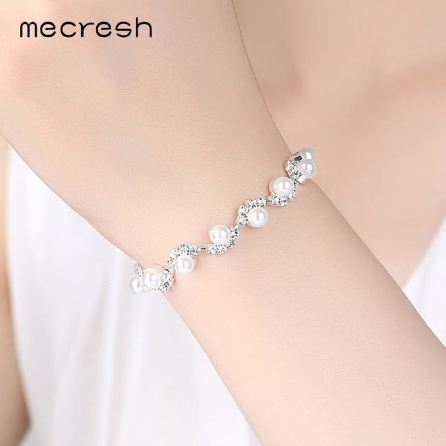 Mecresh Simulated Pearl Bracelets for Women Simple Style Perfectly Round Beads Bridal Pulseras Wedding Jewelry Accessories SL077