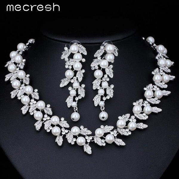Mecresh Simulated Pearl Bridal Jewelry Sets Silver / Gold-Color Necklace Set Wedding Jewelry Parure Bijoux Femme TL283+SL089