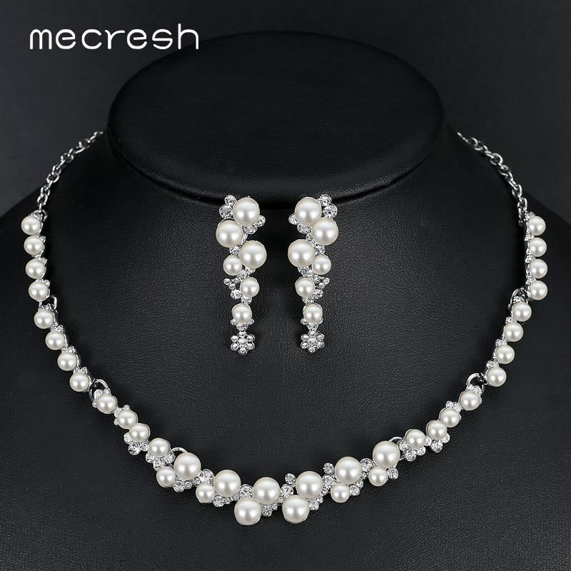 Mecresh Simulated Pearl Bridal Wedding Jewelry Sets Silver Color