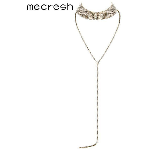 7f4c847f26 Mecresh Super Long Tassel Rhinestone Chokers Necklaces for Women  Silver/Gold-Color Party Prom Chocker Christmas Jewelry MXL135