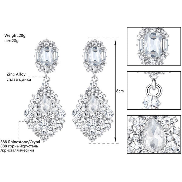 Mecresh Teardrop Crystal Wedding Long Drop Earrings for Women Silver Color Hanging Earrings 2017 New Engagement Jewelry EH196