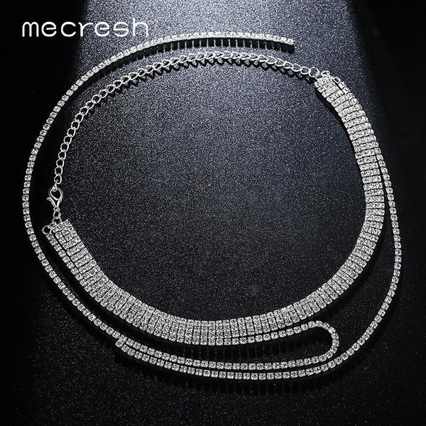 Mecresh Three Row Rhinestone Choker Necklace For Women Silver Color Super Long Tassel Chocker Simple Party Jewelry MXL105