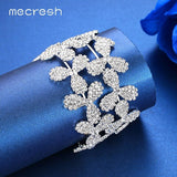 Mecresh Top Crystal Bridal Bracelets & Bangles Elegant Silver Color Leaves Party Girls Bangles Wedding Engagement Jewelry MSL350