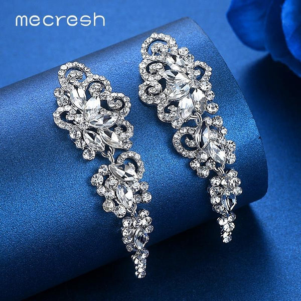 Mecresh Top Crystal Wedding Earrings for Bridesmaid Silver Color Floral Long Pendantes Earrings 2017 Engagement Jewelry EH295
