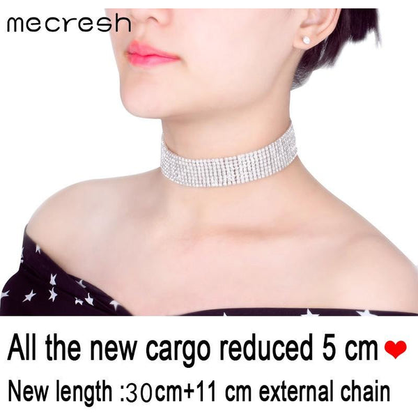 Mecresh Trendy Four Row Rhinestone Choker Necklace For Women Clear Crystal Adjustable Chocker Colar Jewelry Mother's Gift MXL061