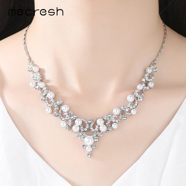 Mecresh Trendy Simulated Pearl Bridal Jewelry Sets Plant Crystal Necklace Sets 2017 Hot Wedding Jewelry Engagement Gift MTL494