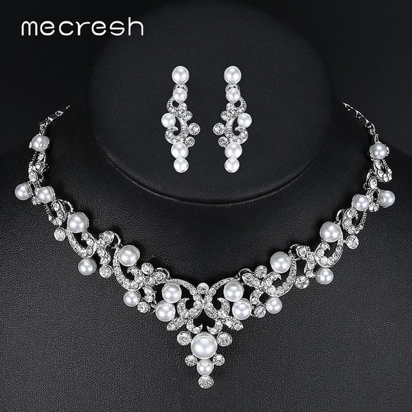 3a0c892a4 Mecresh Trendy Simulated Pearl Bridal Jewelry Sets Plant Crystal Necklace  Sets 2017 Hot Wedding Jewelry Engagement .