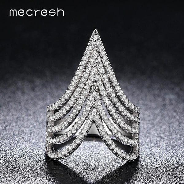 Mecresh V Shape Silver Color Rings for Women Top Micro Pave Cubic Zirconia Trendy Fashion Wedding Jewelry Cocktail Rings JZ031