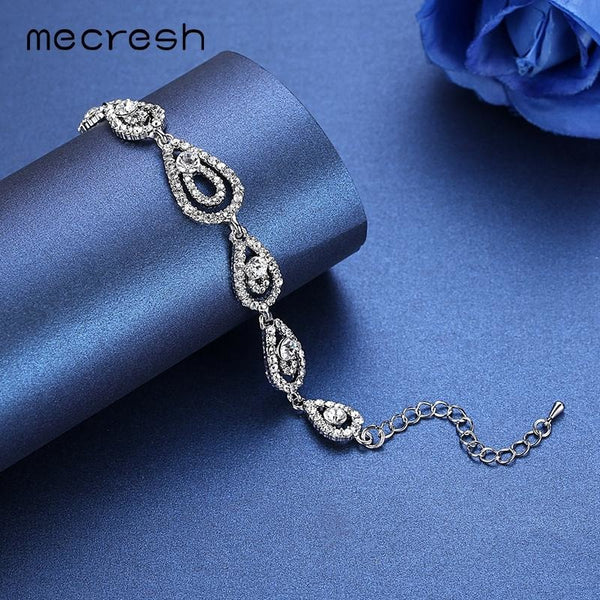 Mecresh Wedding Crystal Bracelets for Women Classic Silver Color Rhinestone Teardrop Bridal Pulseras 2017 Wedding Jewelry SL022