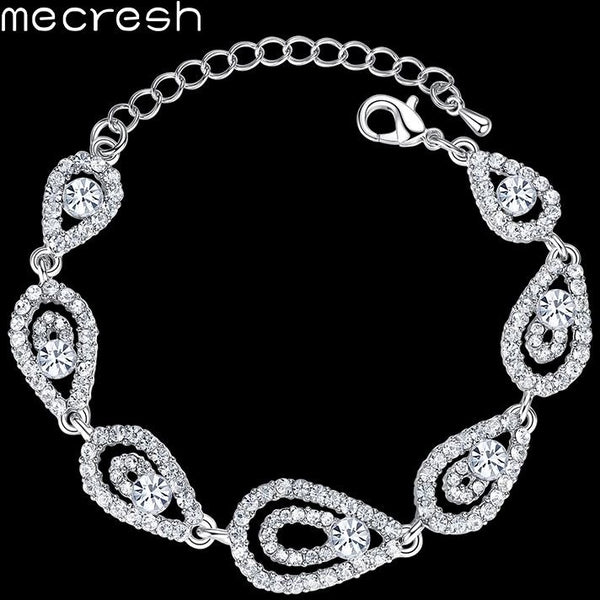 d7f2554fea2c Mecresh Wedding Crystal Bracelets for Women Classic Silver Color Rhinestone  Teardrop Bridal Pulseras 2017 Wedding Jewelry ...