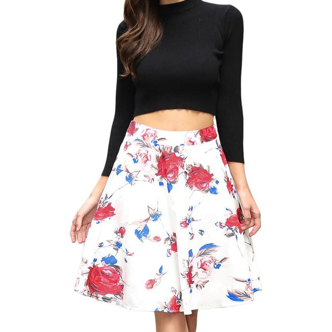 White Rockabilly Flor Summer A-Line Skirt