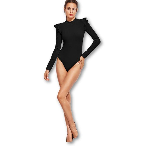 Jewish Girl Black Elegant Long Sleeve Bodysuit