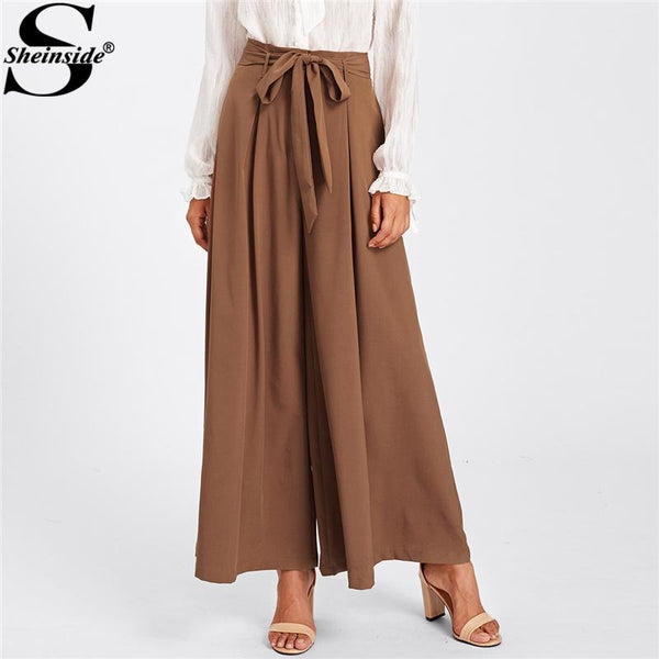Jewish Girl JewishGirl 2018 Loose Wide Leg skirt Pants Mid Waist Self Belted Bow