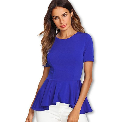 Blue Asymmetric Ruffle 1/2 Sleeve Blouse
