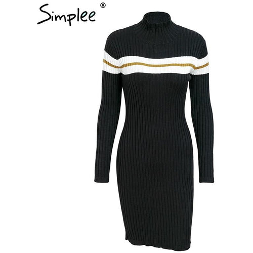 l turtleneck knitted stripe sweater dress Slim o neck bodycon sexy dress pullover female 2018 Autumn winter dress
