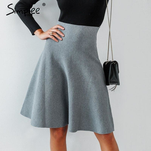 A-line knitted skirt