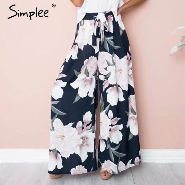 Jewish Girl Sash floral print wide leg pants women Elastic loose boho casual pants trousers Beach summer high waist pants female