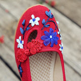 Flowers Appliques Women Linen Slip on Ballet Flats Breathable Fabric Ladies Casual Chinese Shoes ballerina