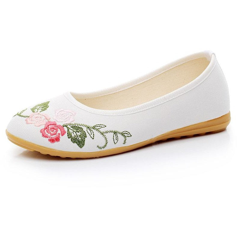 Slip on White Ballet Embroidered Shoes