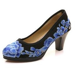Veowalk High End Satin Floral Embroidered Women's Pumps Chunk Medium Heel Elegant Ladies Round Toe Retro Shoes Zapatos Mujer