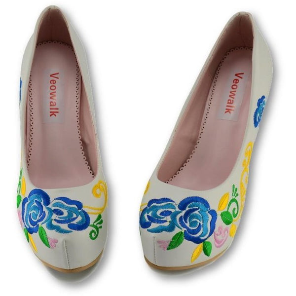 Veowalk High Quality PU leather Flowers Embroidered Woman Stilleto High Heels Elegant Ladies Pumps Chinese Cheongsa Shoesm Shoes