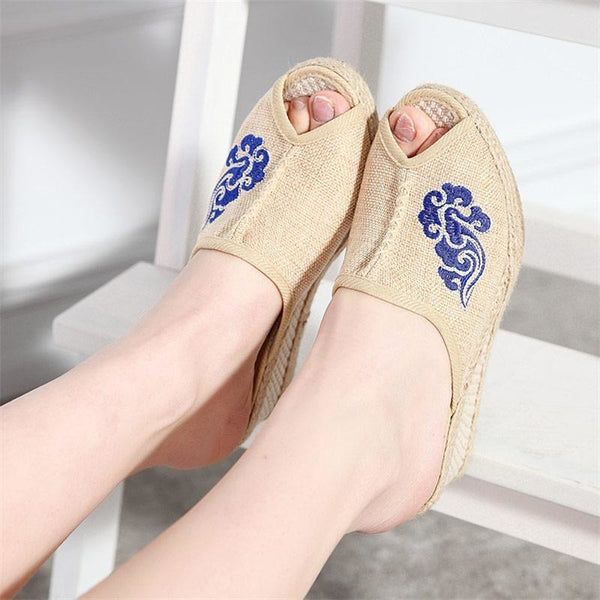 Veowalk Peep Toe Women Linen Mules Slippers Summer Bohemian Handmade Embroidered Ladies Comfort Hemp 5cm Med Heel Wedge Shoes