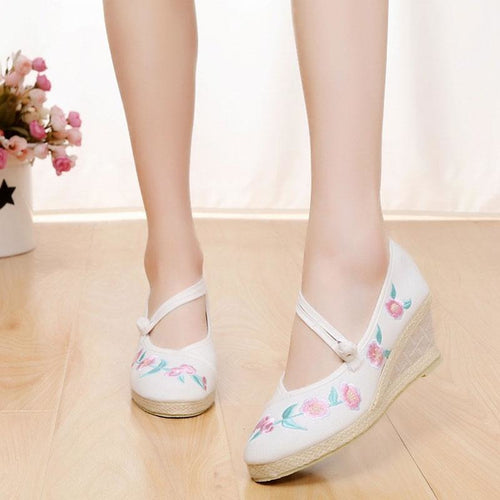 Casual Canvas Embroidered Med Heel Elegant Strap Shoes