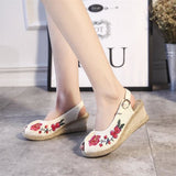 Open Peep Toe Med Heel Soft Cotton Embroidered Shoes
