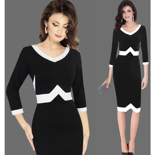 Jewish Girl Women Autumn Elegant 3/4 Sleeves Geometric Patchwork Contrast Slim Business Work Office Party Bodycon Pencil Dress 7922