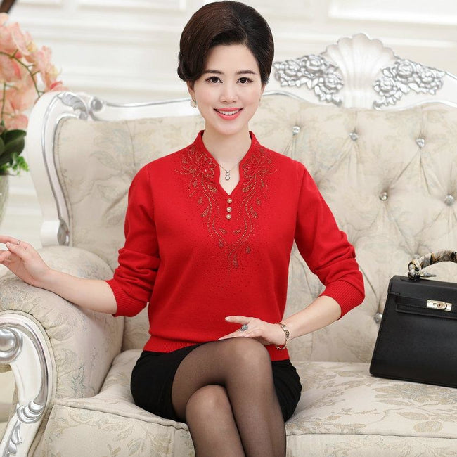 WAEOLSA Chinese Style Women Elegant Cashmere Wool Pullover Sweaters Mature Womans Woollen Blends Knitted Tops Lady Sequined Pull