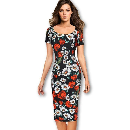 Jewish Girl Womens Summer Elegant Floral Printed Vintage Pinup Short Sleeve  Casual Wear To Work Party Bodycon Sheath Dress 4768 0a0c7cb844b9