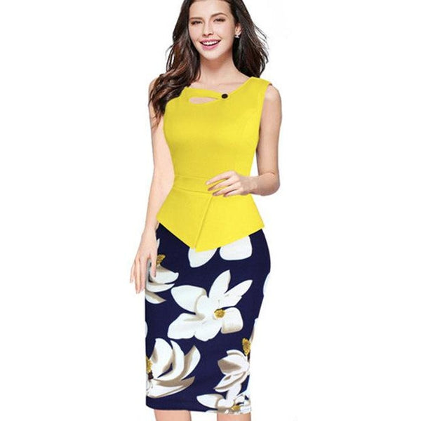 Jewish Girl Print Floral Patchwork Zip Back Bodycon Print Dresses
