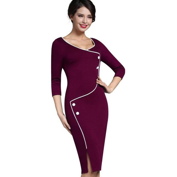 Jewish Girl Nice-forever Vintage Brief Split Bottom Elegant Casual Work 3/4 Sleeve Deep O-Neck Bodycon Knee Women Office Pencil Dress B329
