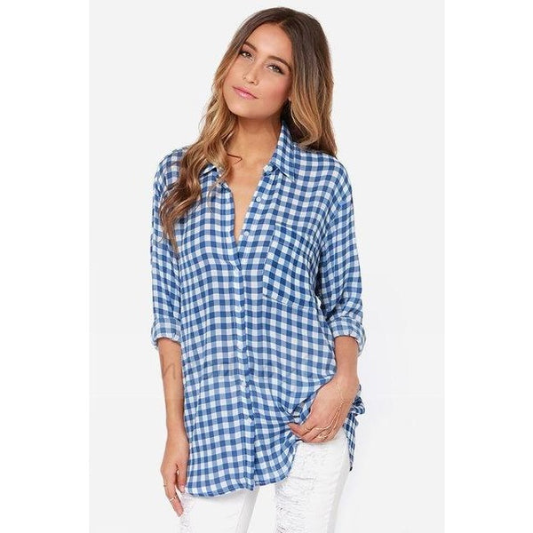 c579531948d77 HDY Haoduoyi Fashion casual blue plaid women Blouse loose long shirt for  wholesale and free shipping Women Tops Female