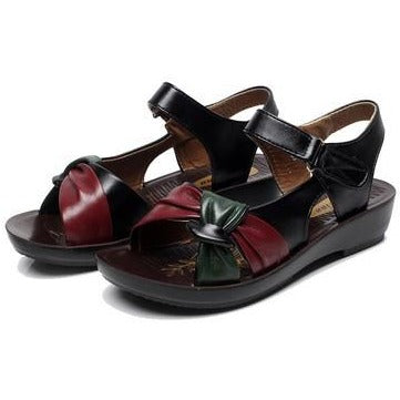 Open Toe Rubber Soft bottom leather Flat Sandals