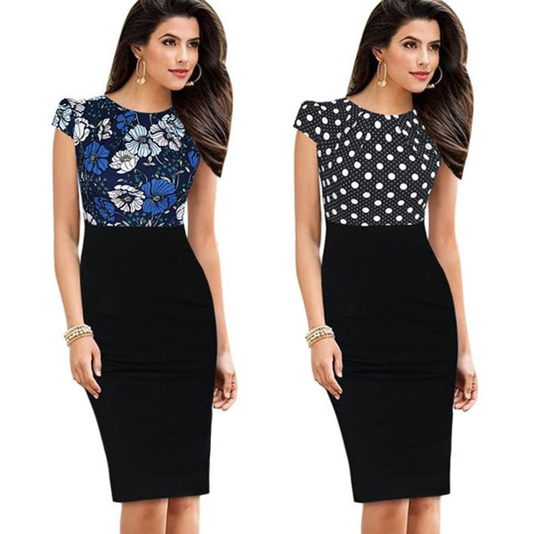 Jewish Girl Nice-forever New Print Stylish Elegant Casual Work Ruched Cap Sleeve Gather O-Neck Bodycon Knee Women Office Pencil Dress B316
