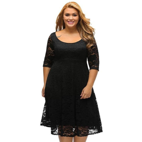 Black/White O-Neck Zip Back 3/4 Sleeve Lace A-Line Plus Size Dress ...