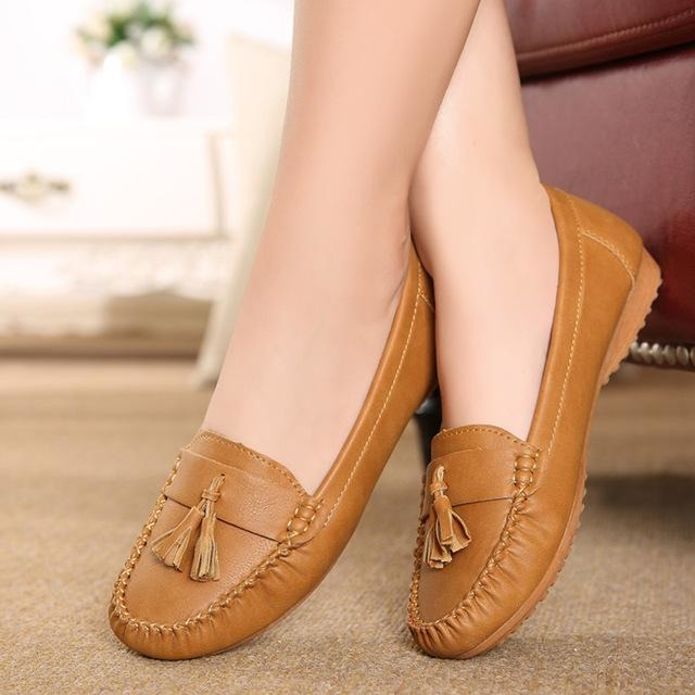 ZZPOHE New fashion tassels soft bottom Women Flats shoes elderly flat work shoes comfortable woman shoes Plus Size Driving shoes