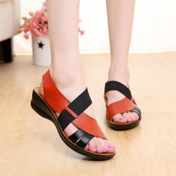 : Brown & Black Ankle Strap Flat Sandals