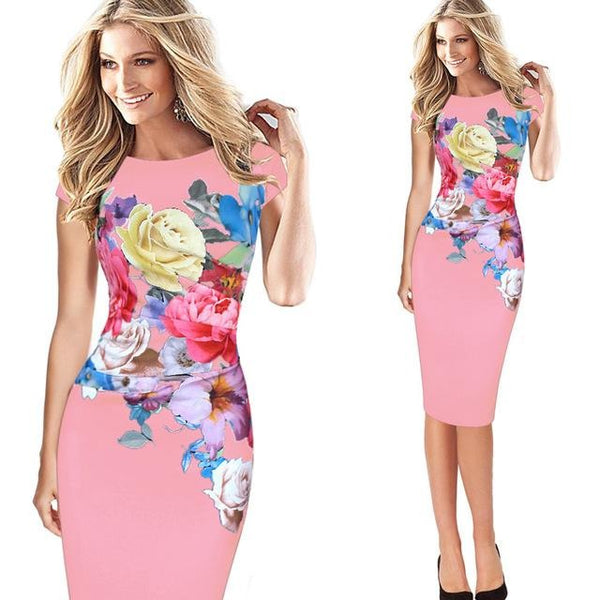 Jewish Girl Floral Printed Cap Sleeve Dress