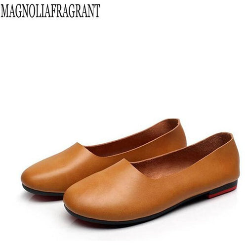 Retro Genuine Leather Soft Safe Flats Shoes