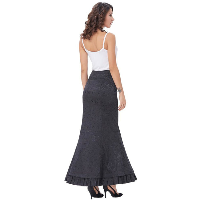 Mermaid Long Corset Lace-Up Trumpet Maxi Skirt