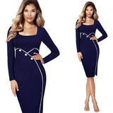 Jewish Girl square Neck Long Sleeve Pencil Dress