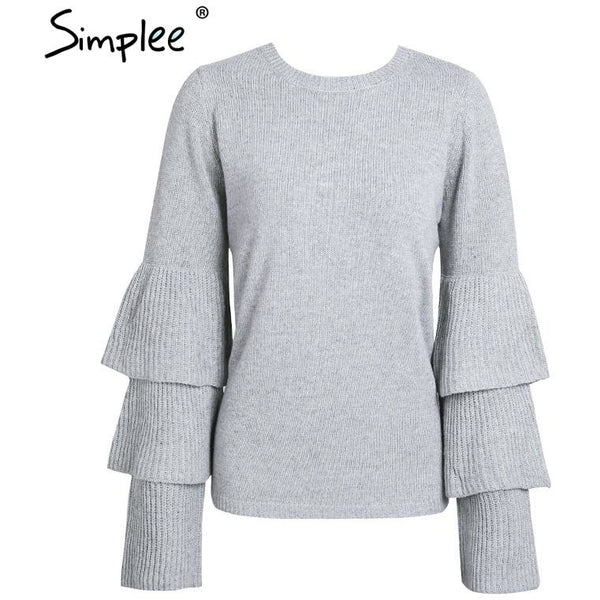 Jewish Girl Knitting ruffles winter sweater women Loose flare sleeve pullover female 2017 Casual party knit pull femme jumper