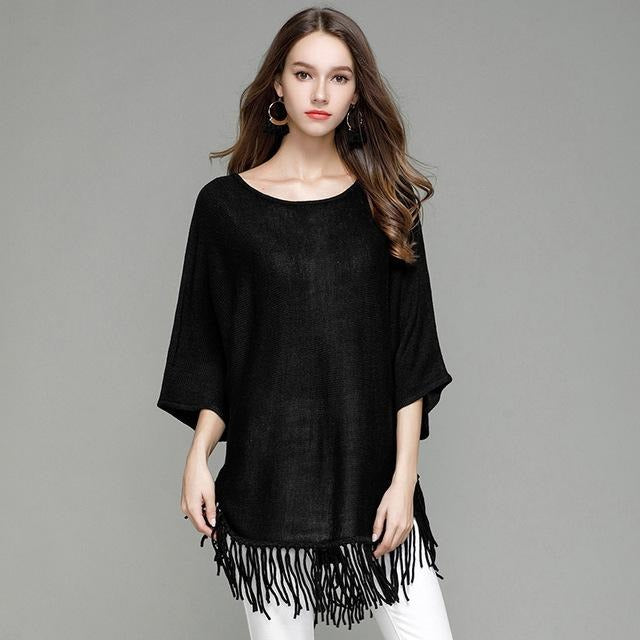 Jewish Girl Women's Pullover Three Quarter Batwing Sleeves O-neck Knitted Solid Color Long Sweaters Tassel Casual Autumn Tops