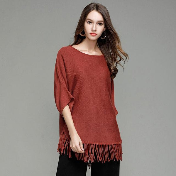 a036e680f36 ... Jewish Girl Women s Pullover Three Quarter Batwing Sleeves O-neck  Knitted Solid Color Long Sweaters